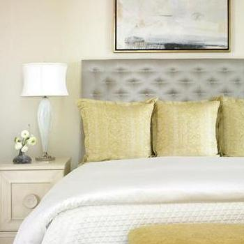 Womack Interiors - bedrooms - yellow and gray bedroom, gray and yellow bedroom, gray and yellow bedrooms, yellow and gray bedroom design, gray and yellow, yellow and gray, gray headboard, gray tufted headboard, gray silk headboard, yellow pillows, yellow bench,