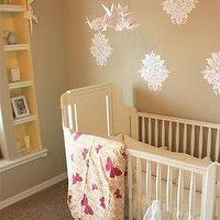 Kenzie Poo - nurseries - latte walls, white crib, damask wall decals, butterflies,  White crib, yellow and navy blue rug, wall stencils and butterfly