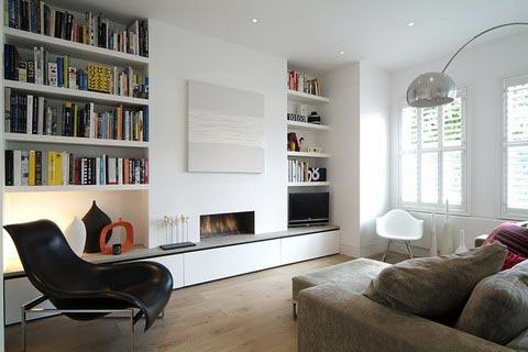 Living Rooms White Sofa Chair Wood Floor Built In Bookcase