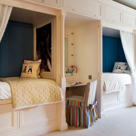 boy's rooms - kids desk, peacock blue walls,  good for long rooms   peacock blue teal walls paint color, twin beds, built-ins, bed storage and