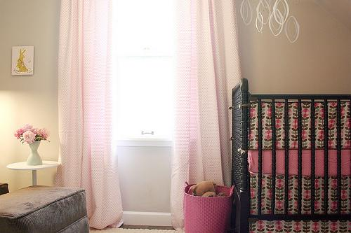 Making it Lovely - nurseries - Behr - Wheat Bread - Jenny Lind Crib, beige walls, beige paint, beige paint color, beige nursery walls, beige nursery paint, beige nursery paint color, pink curtains, pink drapes, jenny lind crib, black jenny lind crib, pink and beige nursery, girls nursery,