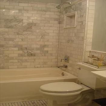 Carrera Marble Subway Tiles, Transitional, bathroom, Benjamin Moore Quiet Moments, Small and Chic Home