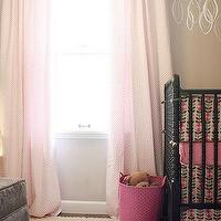 Making it Lovely - nurseries - beige walls, beige paint, beige paint color, beige nursery walls, beige nursery paint, beige nursery paint color, pink curtains, pink drapes, jenny lind crib, black jenny lind crib, pink and beige nursery, girls nursery, Jenny Lind Crib,