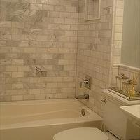Small and Chic Home - bathrooms - Benjamin Moore - Quiet Moments - carrera marble subway tiles, carrera marble tiles, carrera marble shower, carrera marble tile shower, quiet moments,