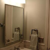 Small and Chic Home - bathrooms - Benjamin Moore - Quiet Moments - quiet moments, pivot mirror, rectangular pivot mirror,  Marble subway, bullnose,