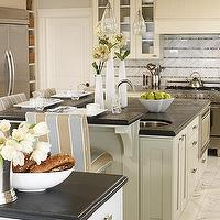 kitchens - glass, pendants, gray, kitchen cabinets, black, countertops, marble, slab, backsplash, floors,  Bright and airy kitchen  gray kitchen