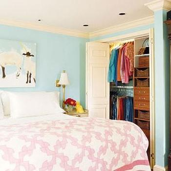 girl's rooms - pink and turquoise bedroom, turquoise walls, pink quilt, white and pink quilt, folding doors, closet doors, folding closet doors,