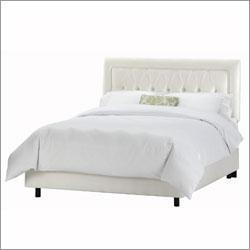 Beds/Headboards - Skyline Furniture 64 - Tufted Border Bed in Shantung Pearl - bed
