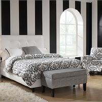Beds/Headboards - Skyline Furniture 89 - Tufted Leather Bed in Black - bedroom