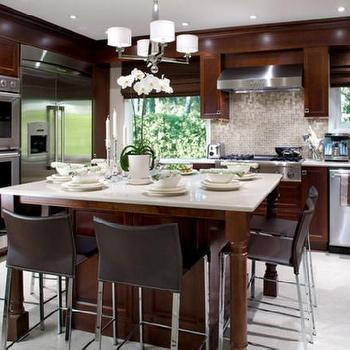 Candice Olson - kitchens - candice olson kitchen,  Divine Design - Chocolate brown kitchen cabinets, stone countertops, pendant chandelier, leather