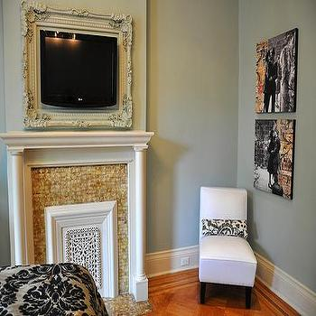 White Slipper Chair, Transitional, bedroom, Benjamin Moore Silver Marlin, Brooklyn Limestone