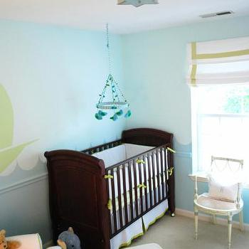 Teresa Meyer Interiors - nurseries - sailboat mural, nursery mural, sailboat wall mural, nursery wall mural, kids wall mural, nursery mural, nursery wall mural, boys nursery mural, boys nursery wall mural, nursery glider, brown crib, boys nursery, boys nursery ideas, chair rail, turquoise walls, turquoise blue walls, turquoise wall paint, nursery mobile, cane chair, grosgrain roman shade, french cane chair, Sophia Flush Mount, French Julia Chair, Serena & Lily Glider,