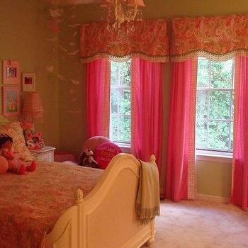 girl's rooms - pink and green little girls room, pink curtains, pink drapes, valance, kids valance,  My Daughters Room!