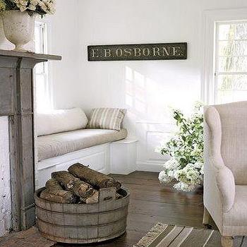 living rooms - window seat, built in window seat, living room window seat, distressed fireplace mantle,  country chic  built-in window seat,