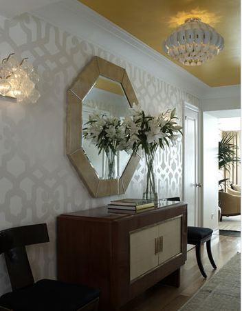 Wallpaper for foyer eclectic entrance foyer for Foyer wallpaper ideas