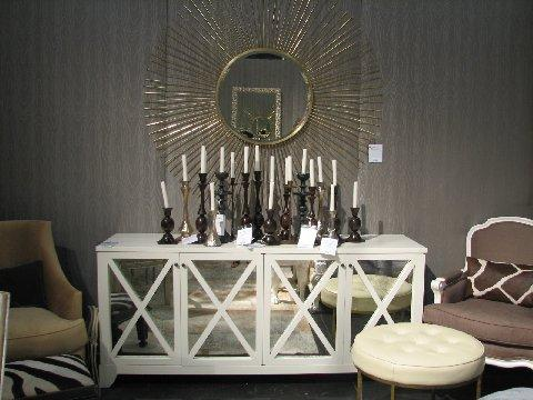 dining rooms - white mirrored buffet credenza gold sunburst mirror gray bergere chairs  dining room   gray textured walls, white mirrored buffet,