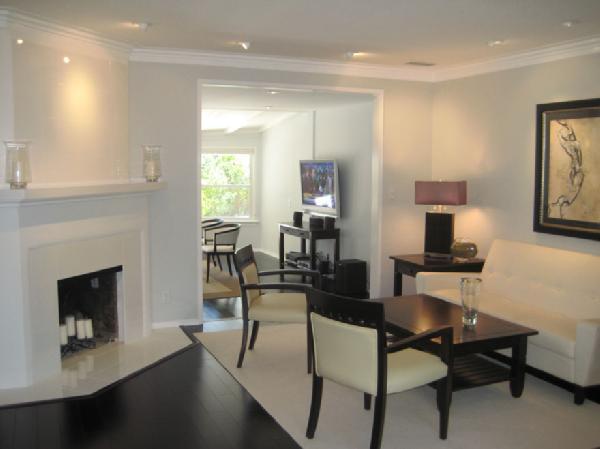 Corner fireplace contemporary living room - Living room with dark wood floors ...