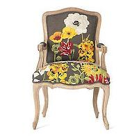 Seating - Conservatory Chair�? -�? Anthropologie.com - chair, flowers, grey, wood, crewel