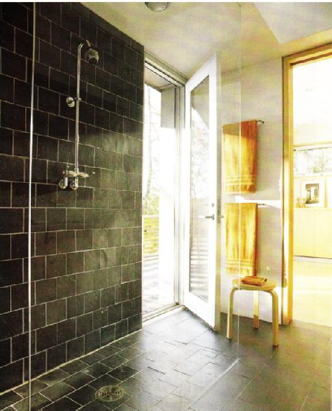 Black And White Tile Bathroom. Large black tiles on bathroom