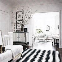 living rooms - black, white, mirrored, chest, cabinet, black, white, striped, stripe, rug, white, tufted, bench, cashmere, throw blanket, vertical, photo gallery, espresso, stained, wood floors, living room,