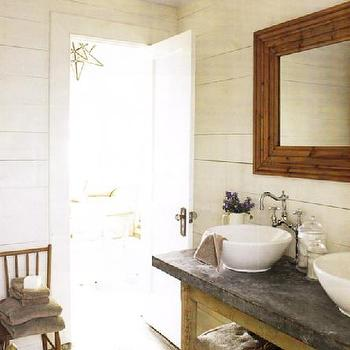 bathrooms - ivory, cream, gray, brown, faux, bamboo, mirror, mini, wood, accent, chair, wood, paneling, paneled walls, white, porcelain, vessel sinks, faucet, gray, vanity, countertop, star, pendant, Pottery Barn, console table, black, white, painted, wood, floors,