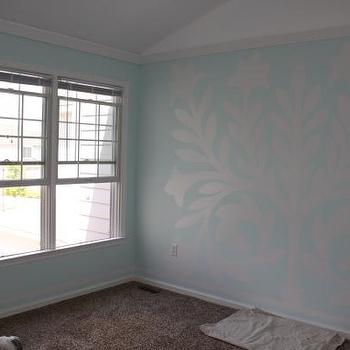 Wall Mural in NUrsery, Transitional, nursery, Sherwin Williams Buoyant Blue