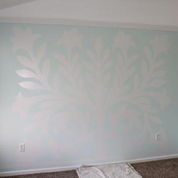 Nursery Wall Mural, Transitional, nursery, Sherwin Williams Buoyant Blue