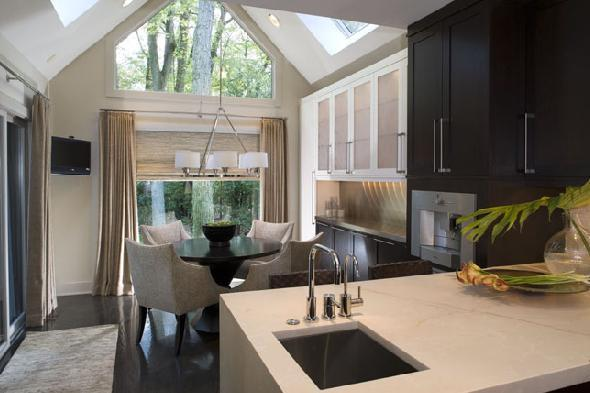 Kitchen with vaulted ceiling contemporary kitchen for Vaulted ceiling kitchen ideas