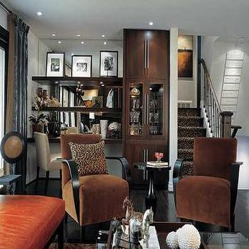 Candice Olson - living rooms - floating desks, stained floating desks, mirror backsplash, mirrored backsplash,  Divine Design - Brown velvet