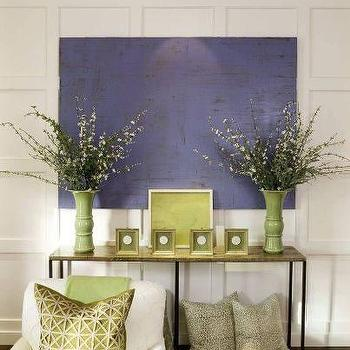 living rooms - full wall wainscoting, wood top console table,  Purple & Green Living Room  Love the paneling detail in this space. Purple abstract