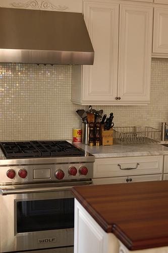 glass tile backsplash transitional kitchen