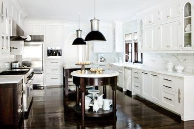 kitchens - white, kitchen, cabinets, espresso, wood, floors, white, carrara. marble, countertops,  Beautiful white and espresso kitchen  glossy