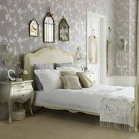 bedrooms - wallpaper, French, rococo, bed, silver, leaf, nightstands, mirrors, bird cage mirror, brass bird cage mirror, Antiqued Birdcage Chandelier, Silver Leaf Bombay Chest,