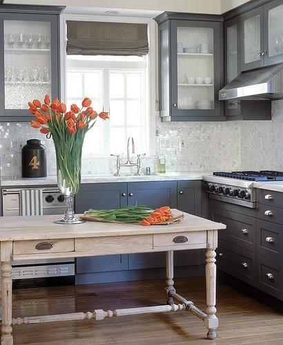 C. W. Eisner - kitchens - charcoal gray cabinets, glass front kitchen cabinets, mosaic tiles, mosaic tile backsplash, farmhouse table, kitchen island, farmhouse kitchen island,