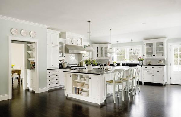 kitchens - Schoolhouse Pendant Kitchen white cabinets Pottery Barn stools soft blue paint wall color  Something's Gotta Give kitchen inspiration