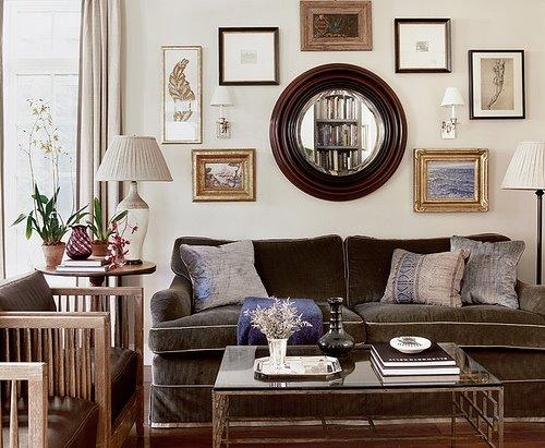C. W. Eisner - living rooms - ivory, brown, purple, wood, beveled, convex, mirror, velvet, brown, sofa, glass, top, coffee table, wood, upholstered, chairs, lamp, iron, floor lamp, oatmeal, gray, linen, drapes, curtains, eclectic, photo gallery, silk, purple, pillows,