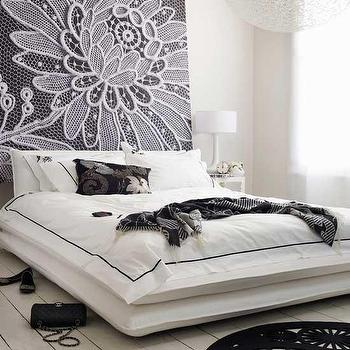 Living Etc - bedrooms - black and white bedding, art headboard, plank floor, white plank floor, whitewashed floor, Lace Flower Canvas,  Black