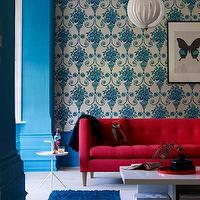 Living Etc - living rooms - red sofa, tufted sofa, red tufted sofa, turquoise sofa,  Red, white and blue. ivory and turquoise blue wallpaper,