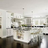 kitchens - Kitchen, white, cabinets, Pottery Barn stools, soft, blue, paint, wall, color,  Something's Gotta Give kitchen inspiration  white