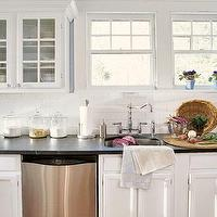kitchens - Kitchen, white, cabinets, subway, tiles, glass, front, cabinets,  Kitchen inspiration--window placement  white glass-front kitchen