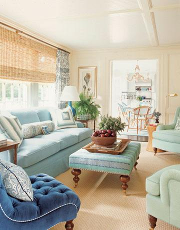 SVanR: Blue coastal living room from House Beautiful. Love the bamboo shades!