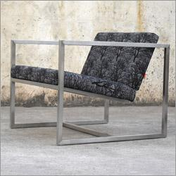 Seating - Gus* Modern Delano Chair - chair, metal, square, modern, black, grey