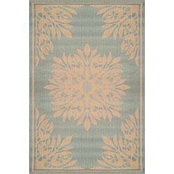 Terrace Aqua Medallion Rug (7'8 Square), Overstock.com