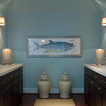 HGTV - bathrooms - blue and brown bathroom, master bathroom, master bathroom ideas, cottage master bathroom, blue walls, face to face vanities, ginger jars, fish art, bathroom art,