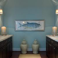 HGTV - bathrooms - HGTV, blue, brown, bathroom, dream home, blue, walls, paint, color, ginger jars, espresso, vanity,  Large ginger jars, espresso