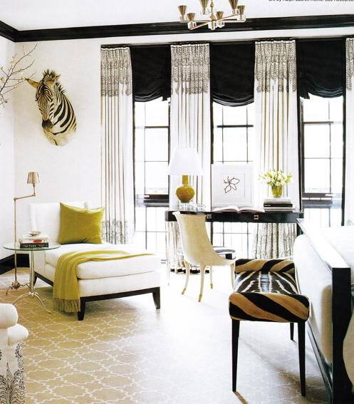 Suzie:  Brian McCarthy!  Love beige & white iron gate rug, white wing back settee with green ...