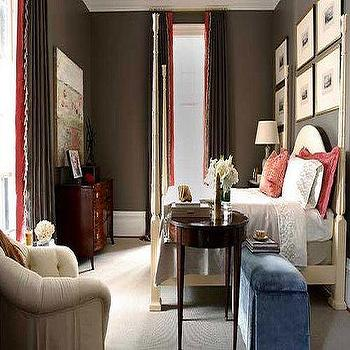 bedrooms - velvet bench, blue velvet bench, chocolate brown walls,  chic brown & red bedroom design   brown paint wall color.  Crown molding,