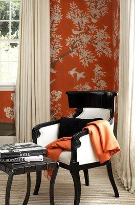 Black and white armchair asian living room - Orange and black room decor ...