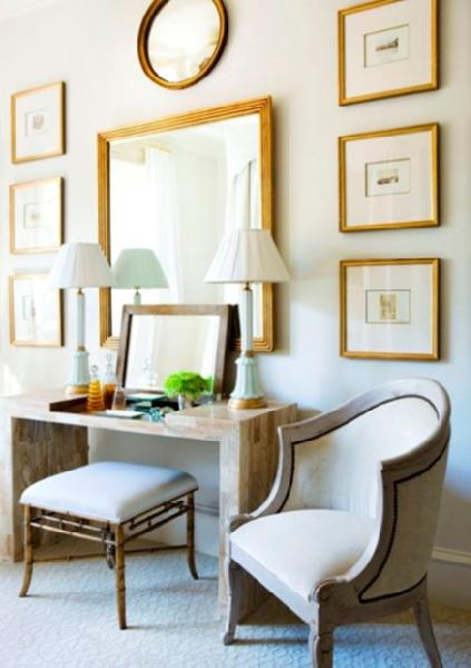 Suzie: entrances/foyers - gold gray tortoise console table faux bamboo ottoman bench stool French gray chair gilt gold frames photo gallery mirror blue ceramic lamps carpet entrance foyer