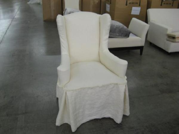 antiqued white dining chair - wingback chairs, vintage chairs